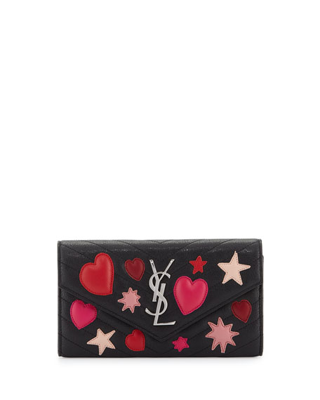 Saint Laurent College Large Matelasse Envelope Wallet, Black