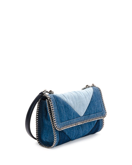 Patchwork Denim Shoulder Bag, Blue