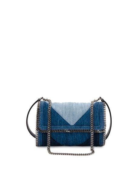 Patchwork Denim Shoulder Bag, Blue