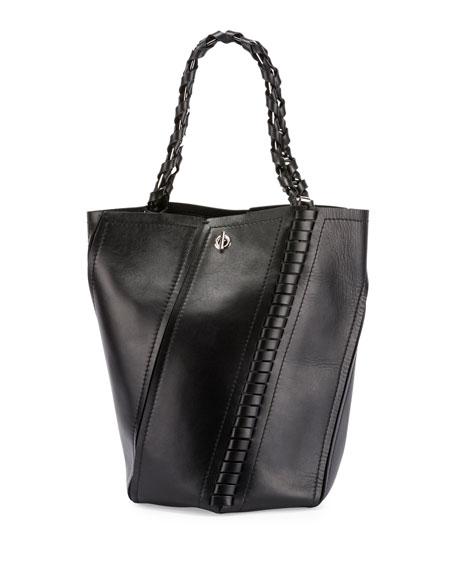 Hex Medium Whipstitch Leather Bucket Bag, Black