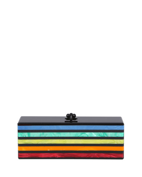 Flavia Striped Acrylic Clutch Bag, Obsidian /Rainbow