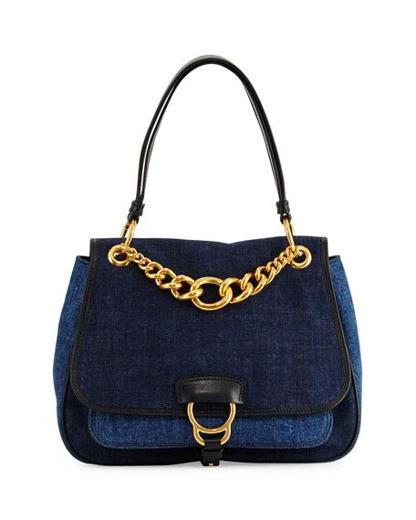 Dahlia Denim Chain Top-Handle Bag, Blue