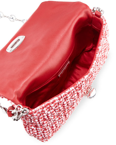 Crystal Collection Gingham Shoulder Bag, Red (Rosso)