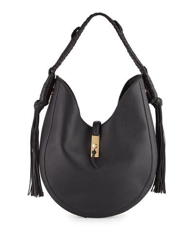 Ghianda Large Leather Hobo Bag, Black