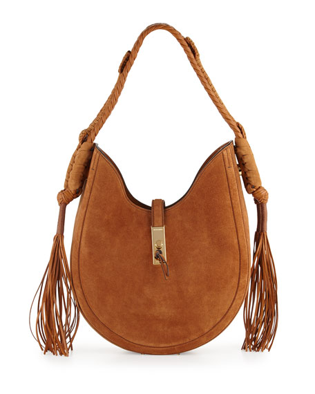 Ghianda Small Leather Hobo Bag, Teak