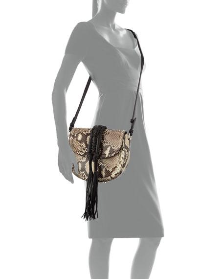Ghianda Python Saddle Bag, Natural/Black