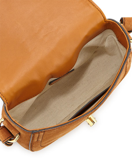 Ghianda Mini Woven Suede Saddle Bag, Teak