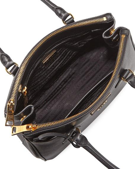 64255804656a Prada Saffiano Small Lux Double-Zip Tote Bag, Black (Nero)