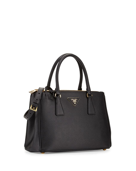 Saffiano Small Lux Double Zip Tote Bag Black Nero