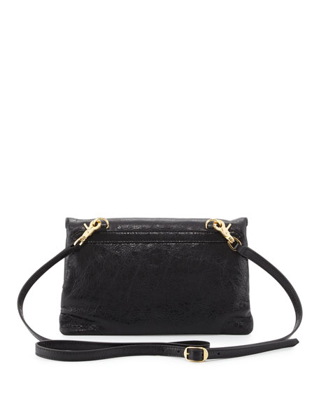 Classic Gold Mini Envelope Crossbody Bag, Black