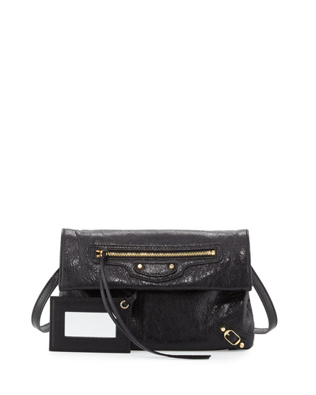 Balenciaga Classic Gold Mini Envelope Crossbody Bag, Black