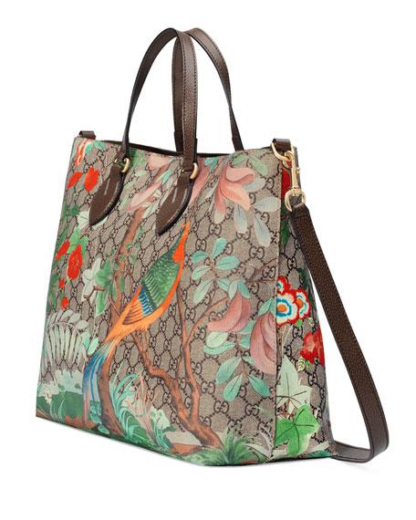 ebcdf7b07 Gucci Tian GG Supreme Top-Handle Tote Bag, Brown