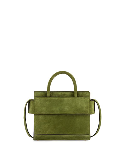 Horizon Mini Suede Satchel Bag, Emerald