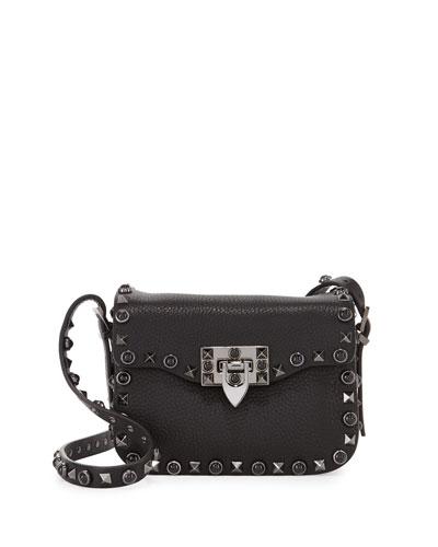 Rockstud Rolling Small Crossbody Bag, Black