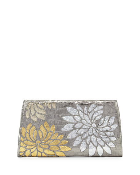 Floral Crocodile Slicer Clutch Bag