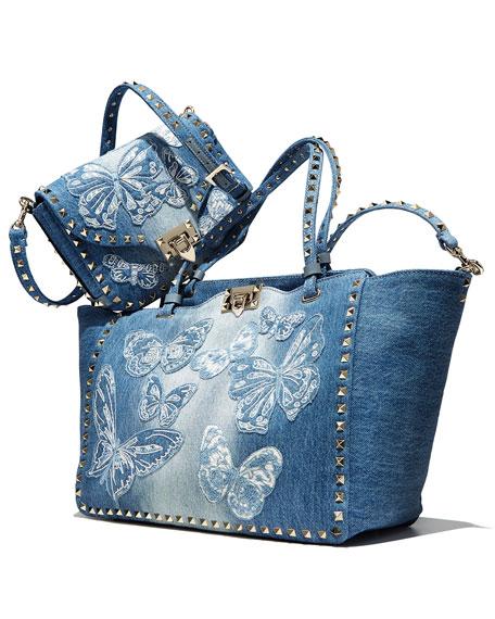 Rockstud Medium Butterfly Washed Denim Tote Bag, Light Denim