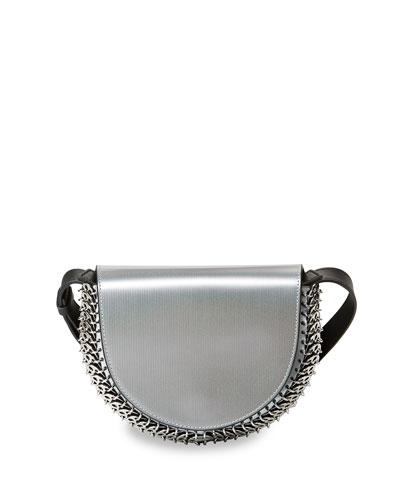 Leather Half-Moon Mini Crossbody Bag, Silver