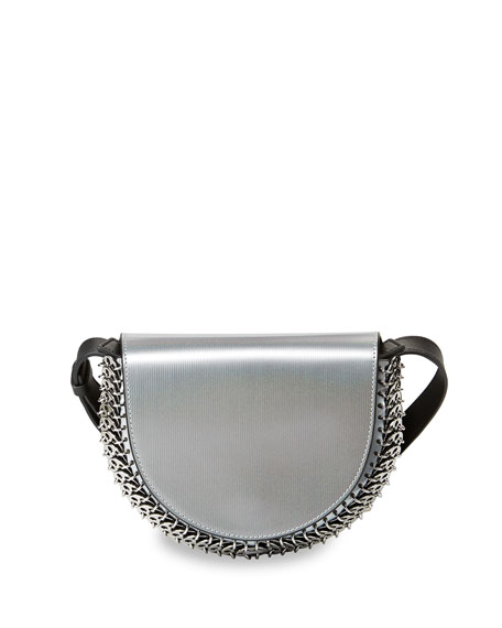 Leather Half-Moon Mini Crossbody Bag, Silver