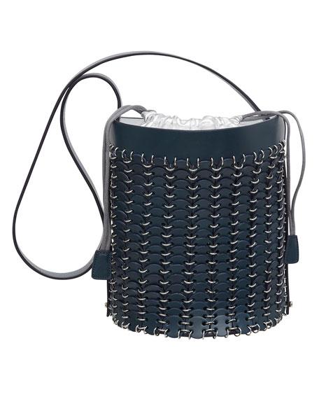 Grommet-Studded Leather Bucket Bag, Navy