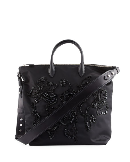 Prada Large Nylon Beaded Tote Bag, Black (Nero)