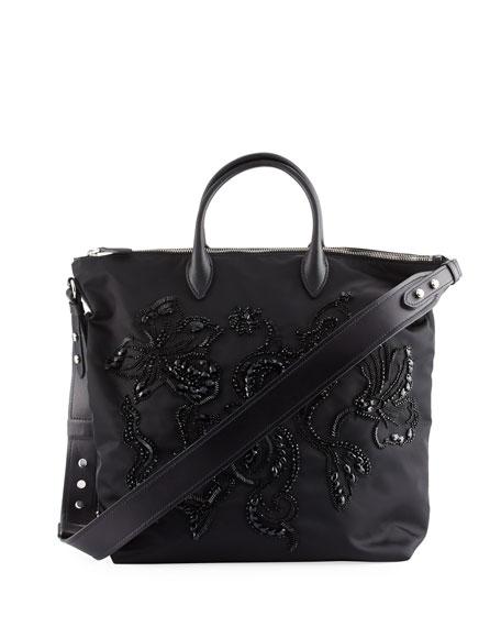 Prada Large Nylon Beaded Tote Bag, Black (Nero)