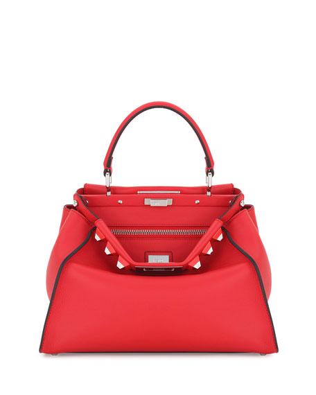 Peekaboo Medium Studded Leather Satchel Bag