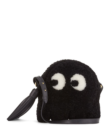 Anya Hindmarch Shearling Fur Ghost Crossbody Bag, Black