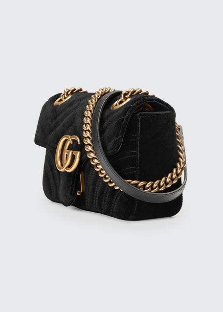 2e35ccc61053 Gucci GG Marmont 2.0 Mini Quilted Velvet Crossbody Bag, Black