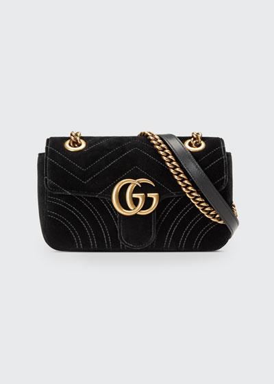 GG Marmont 2.0 Mini Quilted Velvet Crossbody Bag, Black