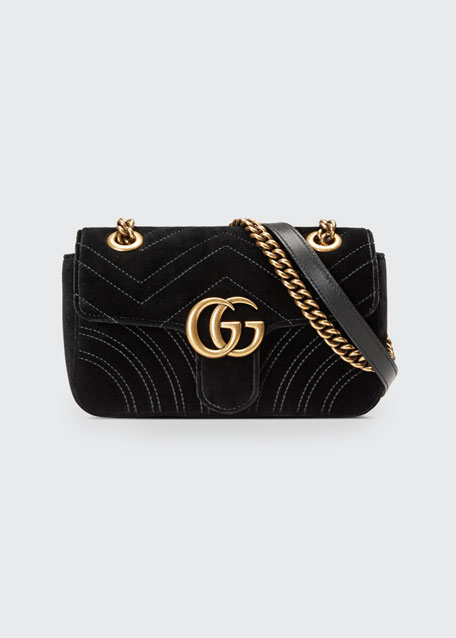 Gucci GG Marmont 2.0 Mini Velvet Shoulder Bag, Black