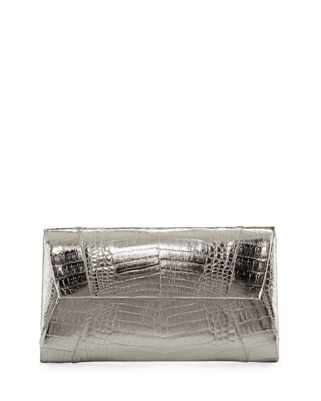 Nancy Gonzalez Crocodile Envelope Clutch Bag, Gray