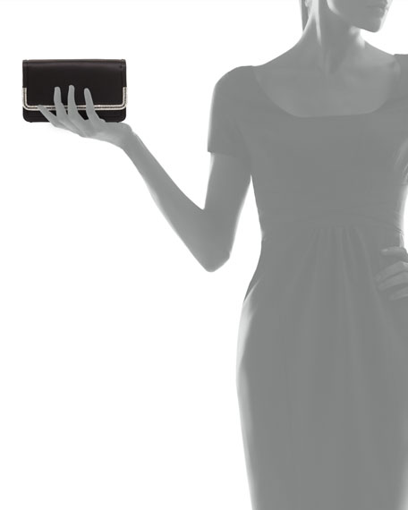 Lenox Satin Crystal-Trim Clutch Bag, Black