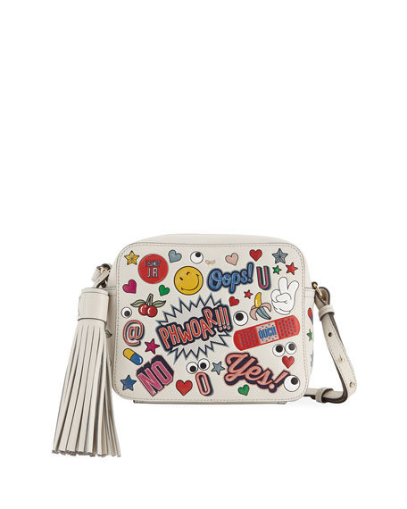 ANYA HINDMARCH Allover Sticker Leather Crossbody Bag - White, Multi