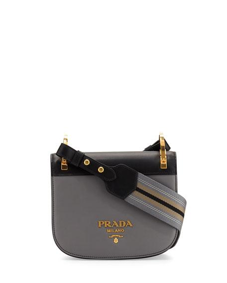 8f96f596b26d8e Prada Pionniere Web-Strap Shoulder Bag, Gray/Black (Marmo/Nero)