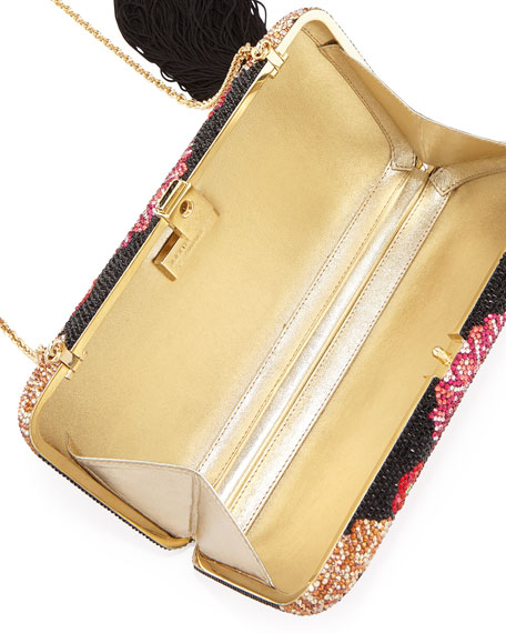 Meadow Beaded Brass Clutch Bag, Multi