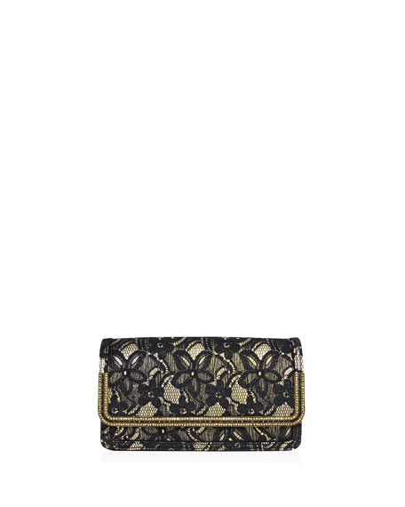 Judith Leiber Couture Lenox Lace Crystal-Trim Clutch Bag,