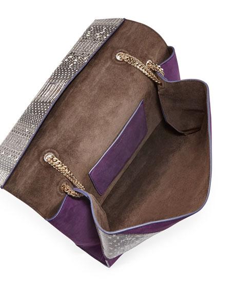 Mado Fold-Over Snakeskin Shoulder Bag