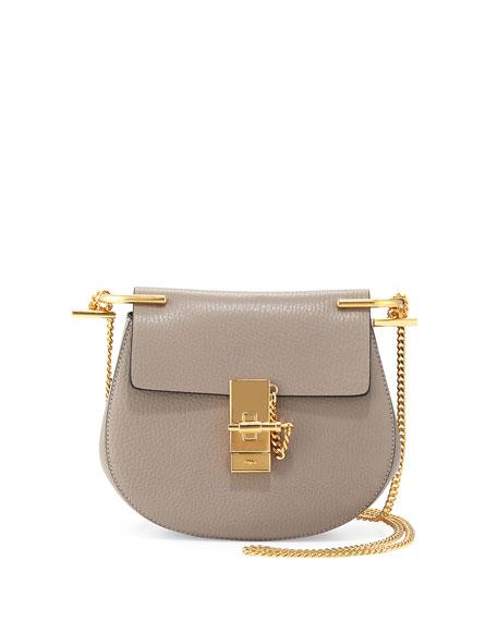 Chloe Drew Mini Lambskin Shoulder Bag, Gray