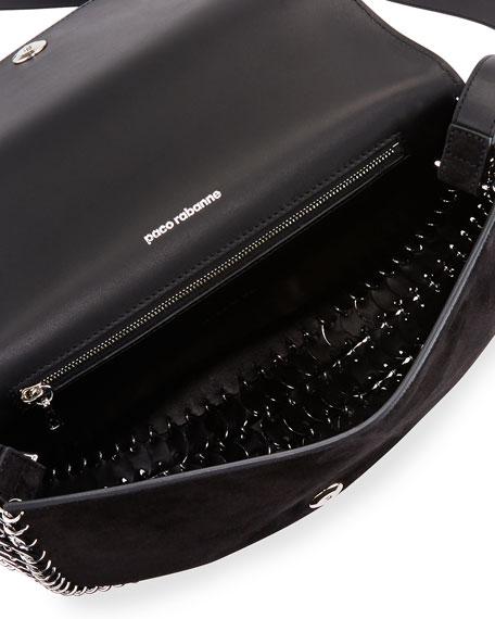 Suede Half-Moon Crossbody Bag, Black