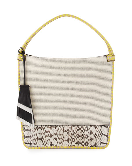 Proenza Schouler Medium Canvas & Snakeskin Tote Bag,