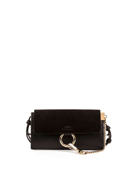 Faye Suede/Leather Wallet-on-a-Strap, Black