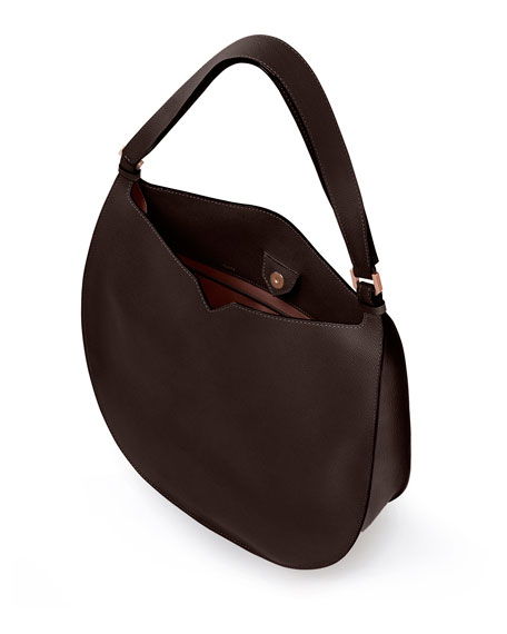 Weekend Small Leather Hobo Bag, Brown