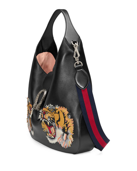 Tiger-Embroidered Leather Shoulder Bag, Black Pattern