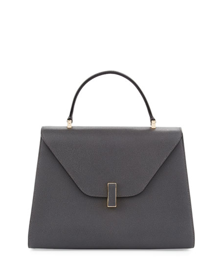 VALEXTRA Iside Medium Leather Top-Handle Bag in Fumo Di Londra