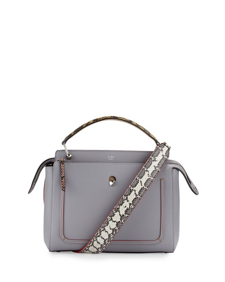 Fendi Dotcom Medium Snakeskin-Trim Satchel Bag, Light Blue