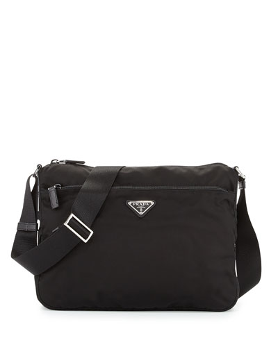 Large Nylon Crossbody Bag  Black (Nero)