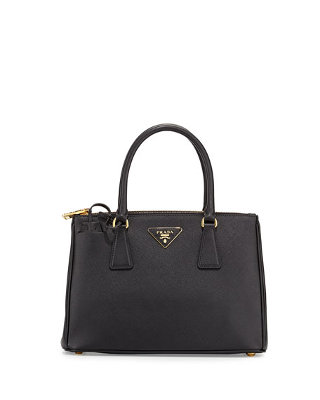 5bae23777517 Prada Saffiano Small Lux Double-Zip Tote Bag