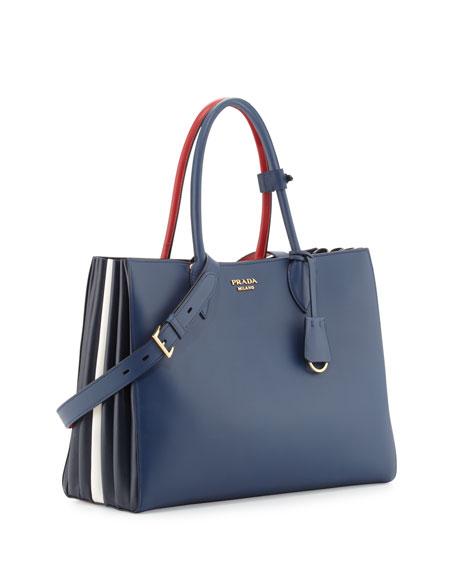 City Calf Accordion Tote Bag, Blue/Red