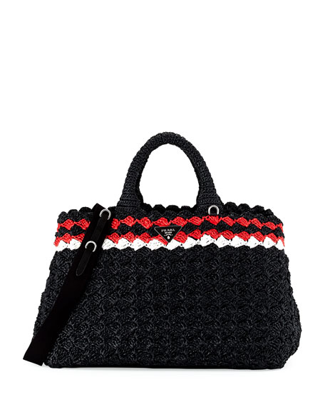 Crocheted Raffia Top-Handle Bag w/Strap, Black (Nero)