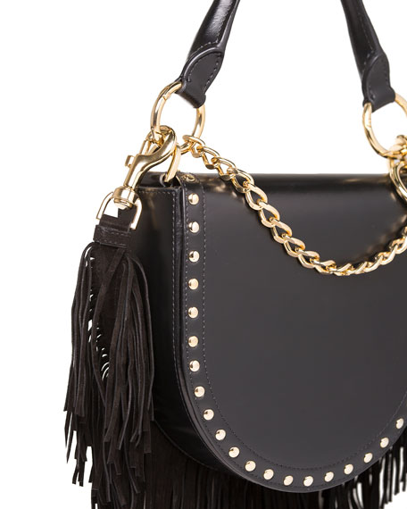 Leather Coin Bag w/Fringe Chain Strap, Black